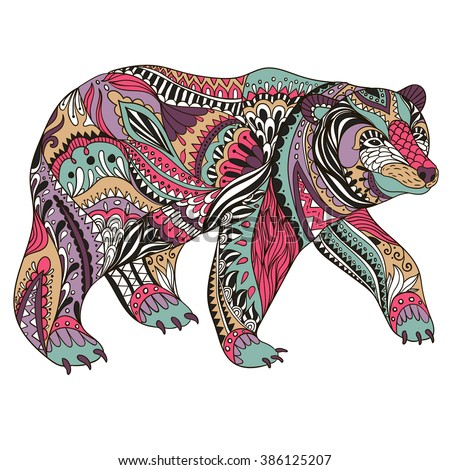 abstract bear  ornate isolated
