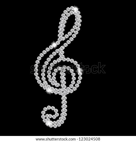 Abstract beautiful black Diamond Music Note vector illustration