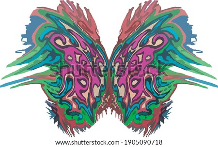 Abstract beautiful colored butterfly wings. Bright unusual pattern in butterfly wings in green-purple shades on white background for your creative ideas