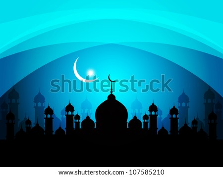 abstract beautiful religious eid background with mosque Vector illustration