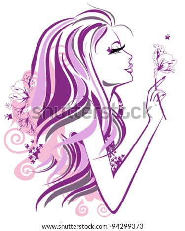 Stock Photo Abstract beautiful woman with flowers and butterflies in lines