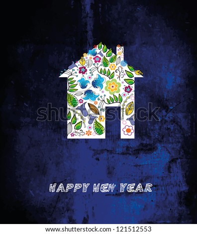 Abstract beauty Christmas and New Year background with a house. Vector illustration