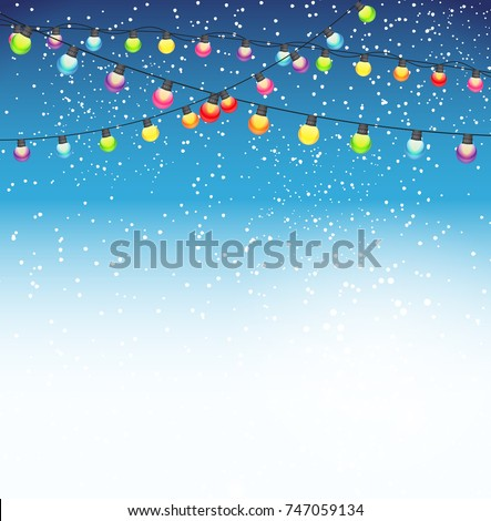 Abstract Beauty Christmas and New Year Background with Garland Bulb Lights and Falling Snow. Vector Illustration. EPS10