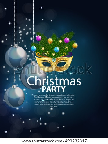 abstract beauty merry christmas and new year party background with masquerade carnival mask vector illustration