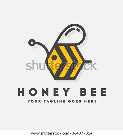 Abstract bee and honey logo symbols. Vector illustration