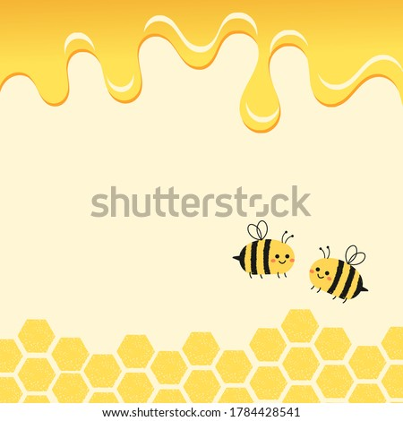 Abstract beehive with hexagon grid cells, honey drop and cartoon bees on yellow background vector. Photo stock ©