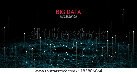Abstract Big Data Visualization. Wave Glow Circle with Motion of Dots. 3d Futuristic Background for Science Slide or Visual Information. Cosmic Light. Technology Concept of Big Data Visualization.