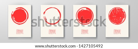Abstract big red grunge circle on white backgrounds set. Brochure, banner, poster design. Sealed with decorative red stamp. Stylized symbol of Japan. Vector illustration.