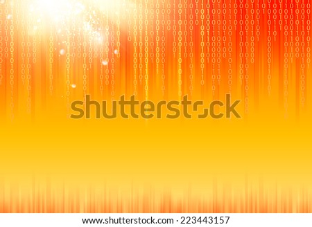 abstract binary code on orange