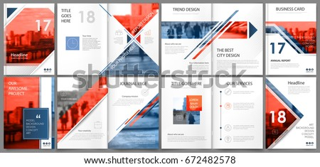 Abstract binder art. White a4 brochure cover design. Info banner frame. Elegant ad flyer text. Title sheet model set. Fancy vector front page. City font blurb. Blue, red. Square, lozenge figure icon