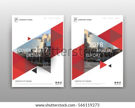 Abstract binder layout. White a4 brochure cover design. Fancy info text frame. Creative ad flyer font. Title sheet model set. Modern vector front page. City view banner. Red triangle figure icon fiber