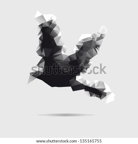 Abstract bird isolated on a white background - stock vector