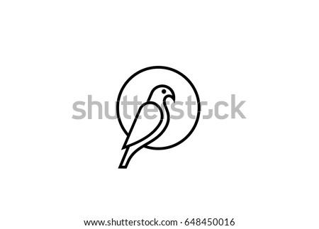 abstract bird sitting on sun logo design vector template linear style eagle falcon dove pigeon