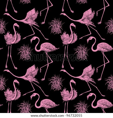 Abstract birds background, fashion seamless pattern, monochrome vector wallpaper, vintage fabric, creative black, pink wrapping with graphic flamingos ornaments - summer and spring theme for design