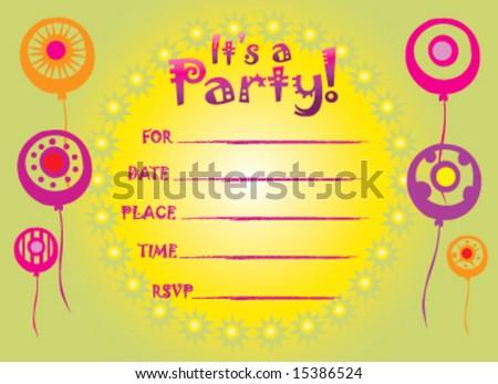 Abstract Birthday Invitation Greeting Card Stock Vector