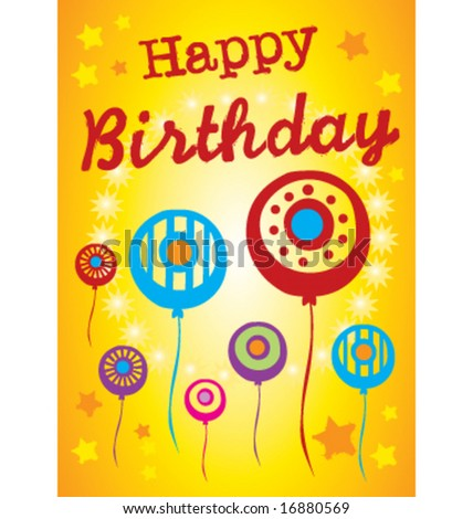 Abstract birthday poster greeting card illustration
