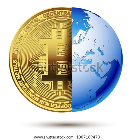abstract bitcoin inside planet