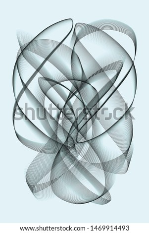 Abstract black and blue object on a blue background. The object is formed by one line following a pattern in a finite loop.