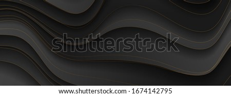 Abstract black and bronze corporate banner graphic design with curved waves. Golden deluxe background. Vector illustration Stock photo ©