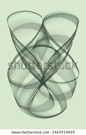 Abstract black and green object on a green background. The object is formed by one line following a pattern in a finite loop. #1469914469