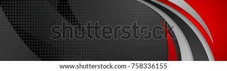 Abstract black and red tech wavy banner design. Vector web header background