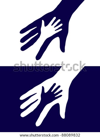 Abstract black and white background. Two hands silhouette.