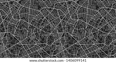 Abstract black and white city map. City residential district scheme. City district plan. Seamless texture