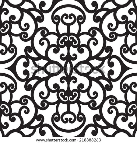 Abstract black and white curly ornament vector seamless pattern