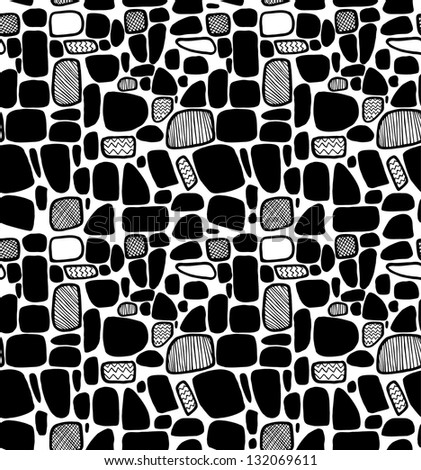 Abstract black and white geometric pattern. Decorative tiles. Seamless modern texture