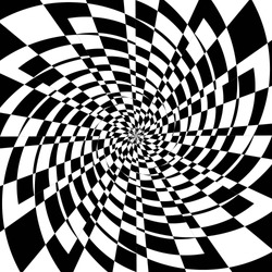 Abstract Black and White Geometric Pattern with Squares. Checkered Optical Psychedelic Illusion. Spiral Tunnel. Vector. 3D Illustration