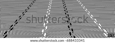 Abstract Black and White Geometric Pattern with Stripes and Footprints of Spiderman. Optical Psychedelic Illusion. Wicker Structural Texture. Vector Illustration