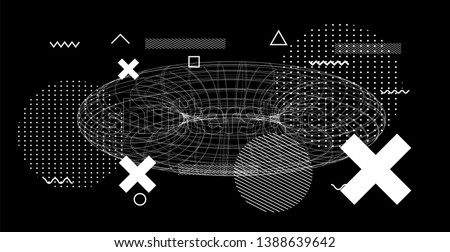 Abstract black and white glitched generative art background with geometric composition. Conceptual illustration of high-tech/ cyberpunk technologies of future/ virtual reality.