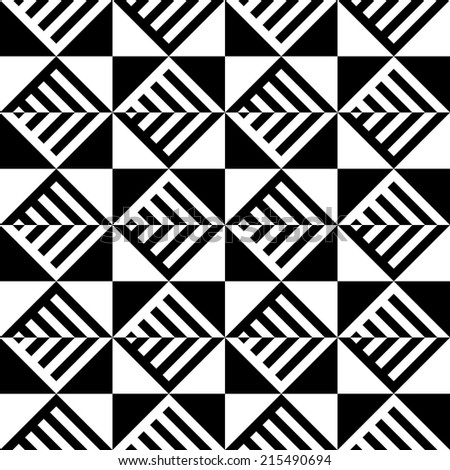Abstract Black and White Illusion Vector Seamless Pattern. Line appears to tilt.