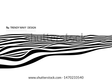 Abstract black and white line wave design decoration cover. You can use for poster, artwork, template design, print, brochure. illustration vector eps10