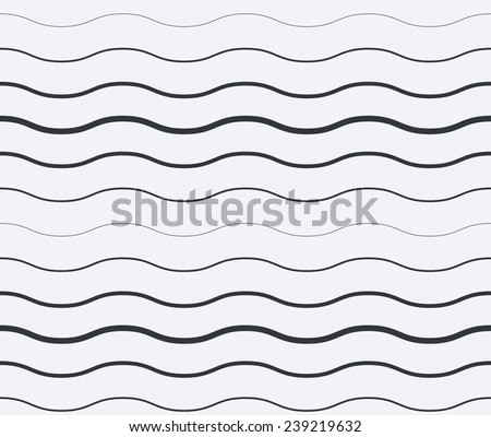 Abstract black and white seamless vector waves background
