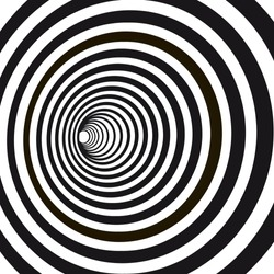 Abstract black and white striped optical illusion. Geometric hypnotic spiral. Geometrical wormhole shape pattern illustration