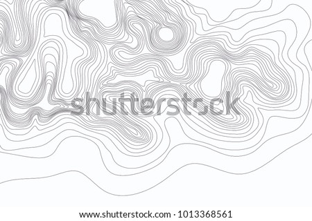 Abstract black and white topographic contours lines of mountains. Topography map art curve drawing. vector illustration.