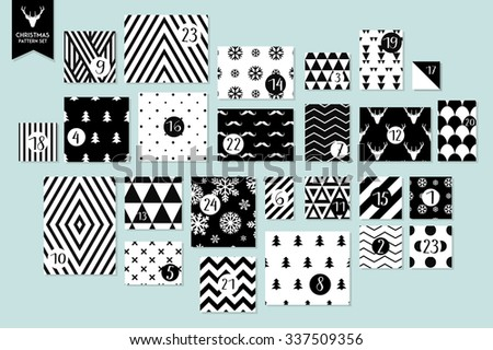 Abstract black and white twenty four various seamless patterns set. Count down till christmas. Advent calendar. Vector