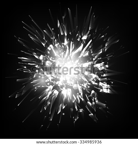 Abstract black and white vector explosion