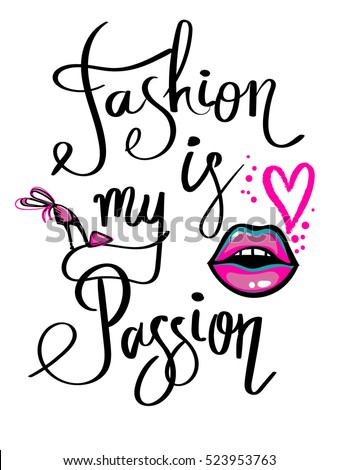 Shutterstock Abstract black and white wallpaper with bright pink hand drawn fashion shoes, kiss lips, heart. Modern t shirt style. motivational slogan for poster. Inspiration Logo background. Calligraphic text