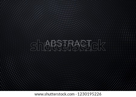 Abstract black background textured with radial silver halftone pattern. Vector illustration. Decoration element with stamped dotted ornament. Creative cover design template. #1230195226