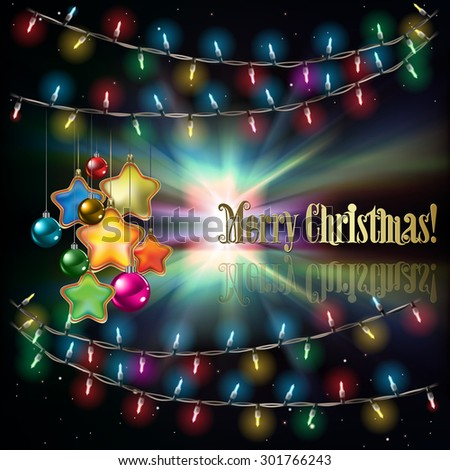 Abstract black background with Christmas lights decorations and stars