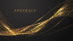 Abstract black background with line wave golden light shine , luxury modern concept. vector illustration for design.