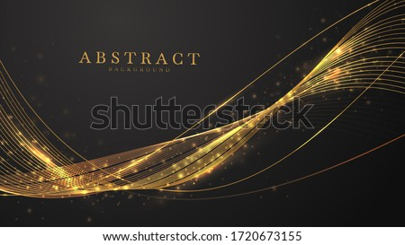 Abstract black background with line wave golden light shine , luxury modern concept. vector illustration for design. Stock photo ©