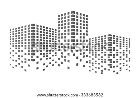 Abstract black building and city scene illustration. Urban cityscape. business or finances icon, creative simple graphic design. real estate template, vector art image, isolated on white background