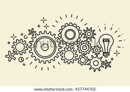 Abstract black connected cogs (gears), outline vector illustration