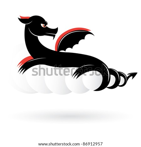 abstract black dragon number