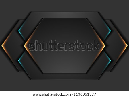 Abstract black geometric shapes with glowing neon lights. Vector modern design