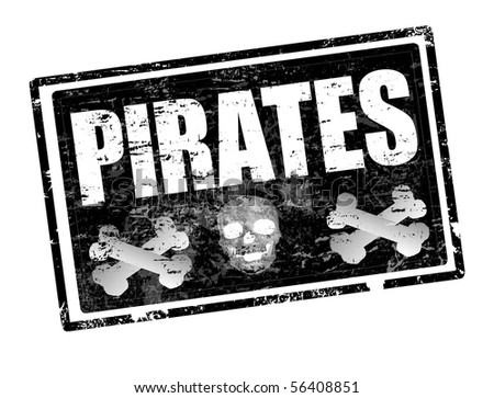 Abstract black grunge office rubber stamp with skull shape and the word pirates written inside