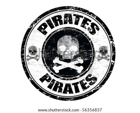 Abstract black grunge office rubber stamp with skull shape and the word pirates written inside the stamp